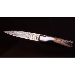 Couteau Corse Sperone Corne de Bélier - Lame Damas